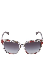 Dolce And Gabbana Carnation And Polka Dot Acetate Sunglasses White Red