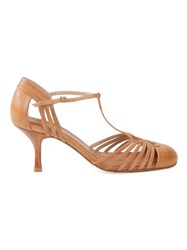 Sarah Chofakian Strappy Pumps Brown