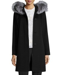 Fleurette Hooded Wool Fur Trim Coat Black