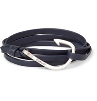 Miansai Grained Leather And Silver Plated Hook Wrap Bracelet Navy