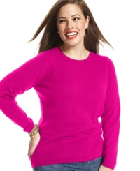 Charter Club Plus Size Cashmere Crew Neck Sweater In 14 Colors Only At Macy's Bright Fuchsia