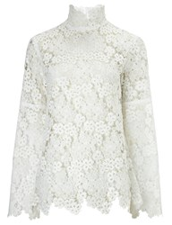 Macgraw White Lace Bell Sleeve Blouse