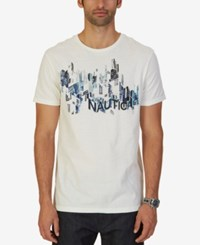 Nautica Men's Painted City Graphic Print T Shirt Marshmallow