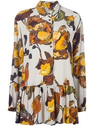 I'm Isola Marras Floral Print Pleated Shirt Brown