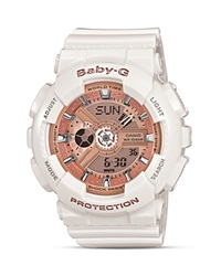 Baby G White With Rose Gold Tone Face Extra Large Ana Digi Watch 46.3Mm White Rose Gold