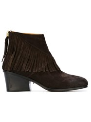 Buttero Fringed Ankle Boots Brown