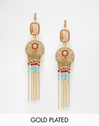 Designsix Coin And Colourful Tassel Drop Earrings Gold