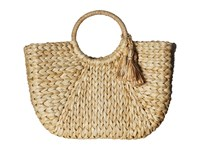 Hat Attack Round Handle Tote Natural Silver Tassels Tote Handbags Yellow