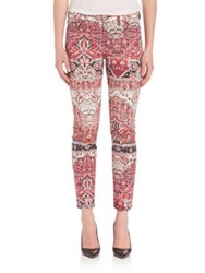 7 For All Mankind Mosaic Printed Skinny Ankle Pants Olympia Mosaic