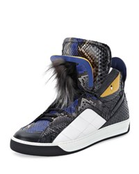 Fendi Monster Python Leather High Top Sneaker Blk Wht Blue