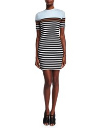 T By Alexander Wang Striped Stretch Sheath Dress Ice Multicolor Ice Multi