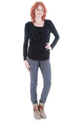 Women's Everly Grey 'Kristina' Cowl Neck Maternity Nursing Top Black