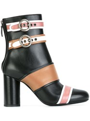 Lanvin Buckled Panel Ankle Boots Black