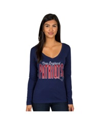 Authentic Nfl Apparel Women's Long Sleeve New England Patriots Touchdown T Shirt Navy