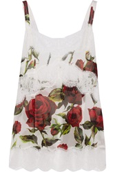 Dolce And Gabbana Lace Trimmed Floral Print Chiffon Camisole