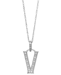 Macy's 14K White Gold Necklace Diamond Accent Letter V
