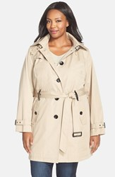 Plus Size Women's Michael Michael Kors Single Breasted Raincoat British Khaki