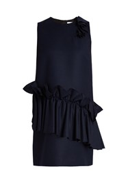 Msgm Ruffled Round Neck Wool Dress Navy