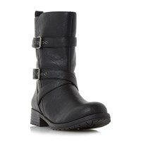 Head Over Heels Raquel Fur Trim Biker Boots Black