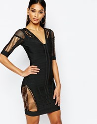 Wow Couture Bandage Body Conscious Dress With Ladder Detail Black