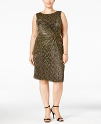 Calvin Klein Plus Size Metallic Twist Front Sheath Dress Black Gold