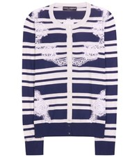 Dolce And Gabbana Printed Silk And Lace Cardigan Blue