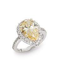 Cz By Kenneth Jay Lane Pear Cut Halo Ring Yellow