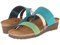 Naot Footwear Brenda Turquoise Gore Green Fabric Black White Gore Sky Leather Women's Sandals Blue