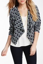 Romeo And Juliet Couture Printed Draped Front Jacket Blue