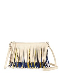 Sam Edelman Claudia Fringe Convertible Crossbody Bag Bone Navy Ivory Navy