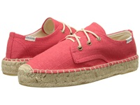 Soludos Platform Derby Knobby Linen Coral Women's Lace Up Casual Shoes
