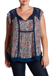 Daniel Rainn Crochet Cap Sleeve Blouse Plus Size Multi