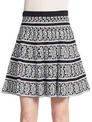 Saks Fifth Avenue Black Jacquard Knit Flare Skirt Black Bleach