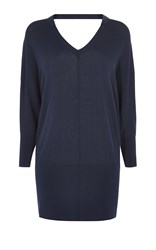 Karen Millen V Neck Tunic Knit Blue