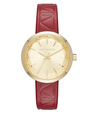 Karl Lagerfeld Belleville Burgundy Leather And Goldtone Three Hand Watch Red
