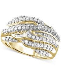 Macy's Diamond Multi Row Statement Ring 1 Ct. T.W. In 14K Gold Plated Sterling Silver Yellow Gold