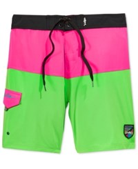 Maui And Sons Men's Neon Aloha Colorblocked Boardshorts Neon Pink