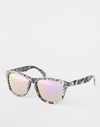 Asos Square Wrap Style Sunglasses In Marble Look With Revo Lens Black