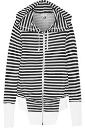 Oak Striped Cotton Blend Terry Hooded Top White