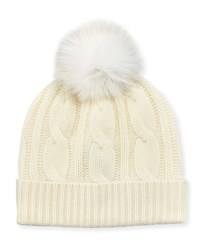 Neiman Marcus Fox Fur Pompom Cable Knit Hat Ivory