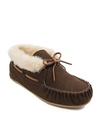 Minnetonka Chrissy Faux Fur Lined Moccasins Chocolate Brown