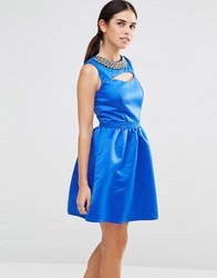 Laced In Love Embellished Cut Out Dress Blue