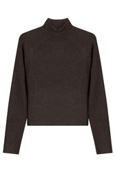 Jason Wu Wool Knit Pullover With Rib Stripe Detailing Brown