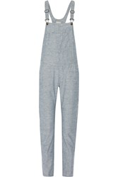 Rag And Bone Cotton Chambray Overalls Blue
