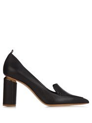 Nicholas Kirkwood Beya Grained Leather Block Heel Pumps Black