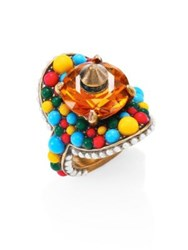 Gucci Turquoise Beaded Swarovski Crystal Cocktail Ring Multi
