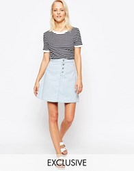 Chorus Button Front Skater Skirt Blue