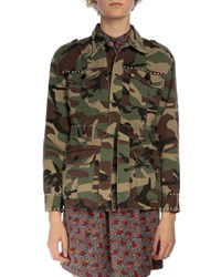 Saint Laurent Studded Camo Cargo Jacket Green