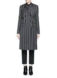 Givenchy Stripe Wool Double Breasted Side Split Side Coat Multi Colour
