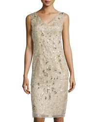 Philosophy Di Alberta Ferretti Beaded And Studded V Neck Dress Beige